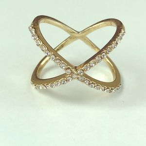 Baublebar Crossover Ring Gold Crystal size 9